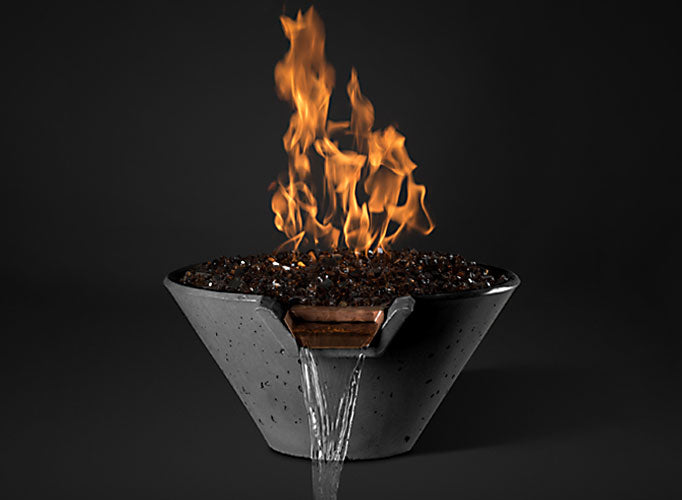 Slick Rock KCC22CPSCC Cascade Series 22-Inch Round Fire on Glass Fire Pit with Electronic Ignition