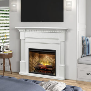 "Dimplex Christina 56"" Electric Fireplace and Mantel Package - White Finish"