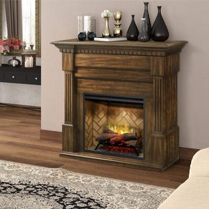 "Dimplex Christina BuiltRite 57"" Mantel with 30'' Revillusion Firebox- Burnished Walnut"