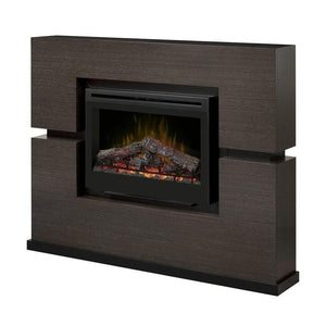 "Dimplex Linwood 66"" Electric Fireplace and Mantel Package- Glowing Logs"