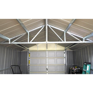 ShelterLogic Arrow Murryhill 12 ft. W x 24 ft. D 2-Tone Gray Steel Garage and Storage Building with Side Door and High-Gable Roof - Ships July 31st