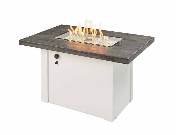 The Outdoor Greatroom Company Stone Grey Havenwood Gas Fire Pit Table with White Base