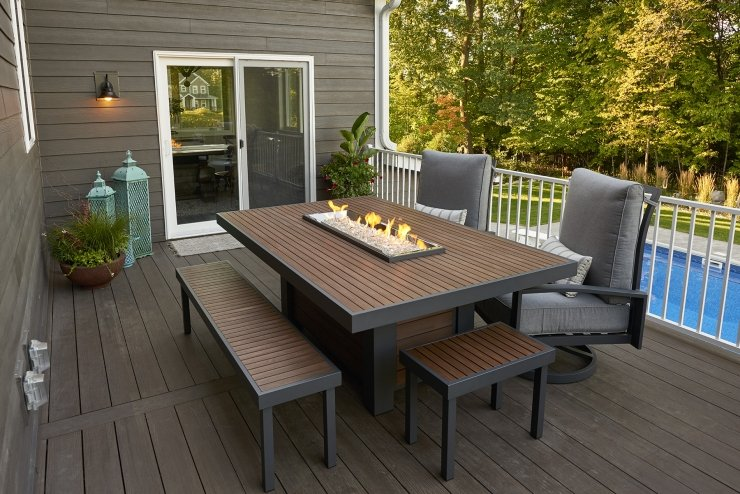The Outdoor Greatroom company Kenwood Linear Dining Height Gas Fire Pit Table