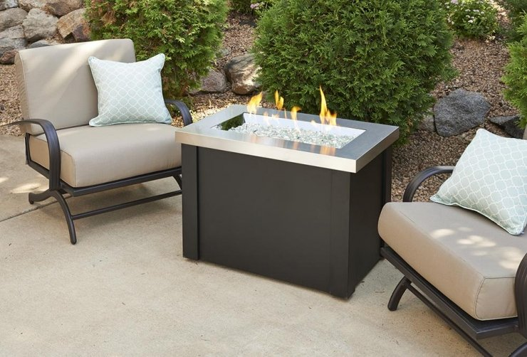 The Outdoor Greatroom company Stainless Steel Providence Rectangular Gas Fire Pit Table