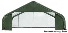 ShelterLogic ShelterCoat 28 ft. W x 28 ft. D x 16 ft. H Steel and Polyethylene Garage Without Floor with Corrosion-Resistant Frame