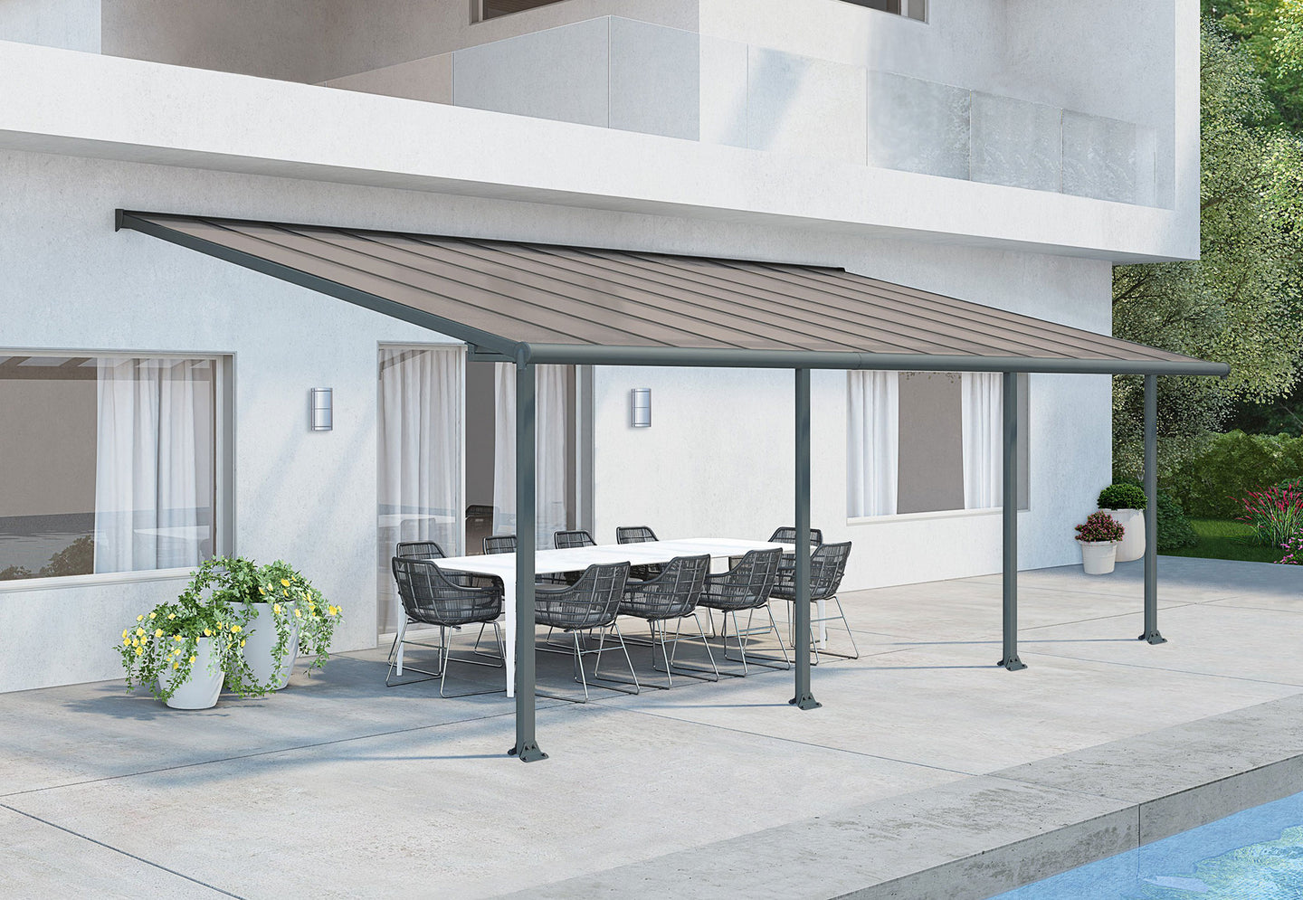 Palram Olympia 10' x 24' Patio Cover - Gray/Bronze