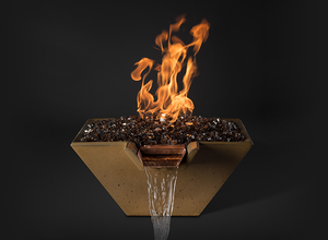 Slick Rock KCC29SPSCC Cascade Series 29-Inch Square Fire on Glass Fire Pit - Match Lit