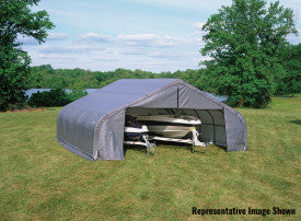 ShelterLogic ShelterCoat  22 ft. W x 28 ft. D x 11 ft. H Steel and Polyethylene Garage without Floor  with Corrosion-Resistant Frame