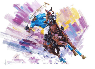 Hitting Out | Polo Limited Edition Art Print By John Ketchell Standard 32 X 25.3Cm