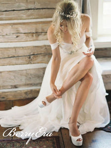 Off Shoulder Long A-line Side Slit Ivory Chiffon Wedding Dresses, Country Wedding Dresses, Bridal Gown