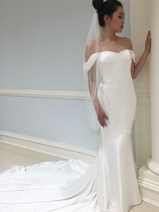 Off Shoulder Long Mermaid Satin Wedding Dresses, Simple Elegant Wedding Dresses, Long Wedding Dresses