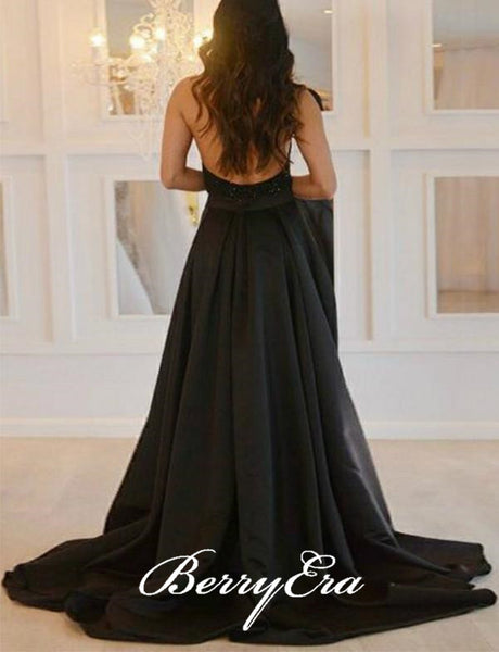 Halter Black Beaded Top Satin Side Slit Prom Dresses, Long Prom Dresses