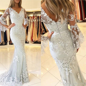 Lace Mermaid Sexy Long Tulle Prom Dresses