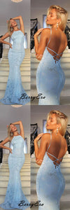 Newest Light Blue Lace Prom Dresses, Open Back Sexy Mermaid Prom Dresses