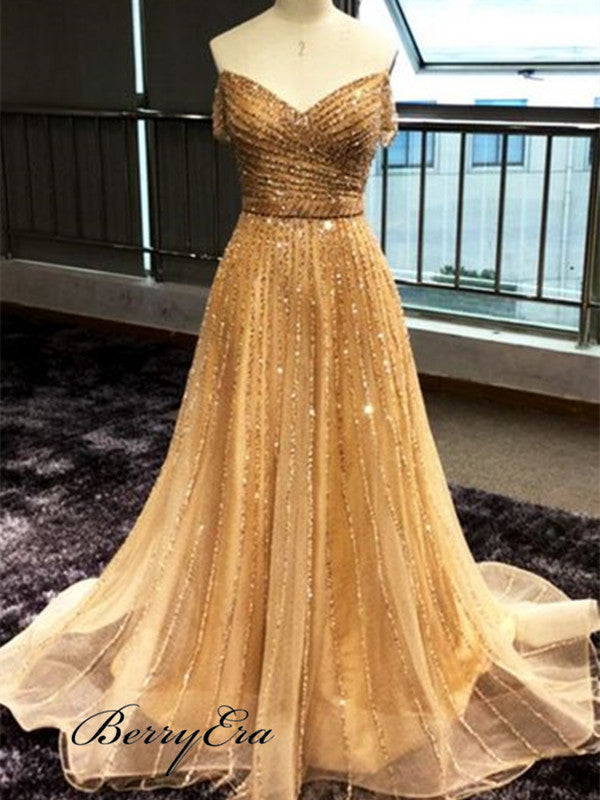 Off The Shoulder Beaded Chiffon Long Prom Dresses, A-line Prom Dresses