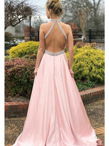 2019 Halter Beads Open Back A Line Sweep Train Satin Evening Party Special Prom Dress