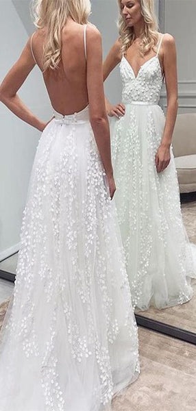 Spaghetti Strap Backless Sexy Wedding Dresses, Lace Sexy Wedding Dresses