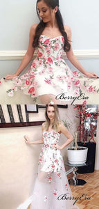 Strapless Flower Organza Prom Dresses, Fancy Long Prom Dresses