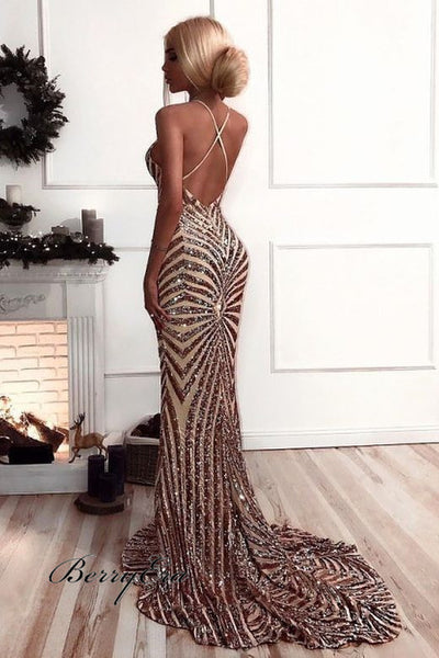 V-neck Sexy Mermaid Sequin Tulle Prom Dresses, Affordable Prom Dresses