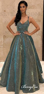 Fashion Gliiter Long Prom Dresses, Sequins A-line Prom Dresses 2020