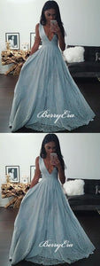 Deep V-neck A-line Prom Dresses, Sequins Prom Dresses, Newest Prom Dresses