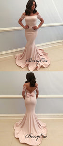 Off The Shoulder Mermaid Bridesmaid Dresses, Lace Long Prom Dresses