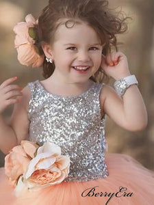 Sequins Flower Girl Dresses, Tulle A-line Girl Wedding Dresses