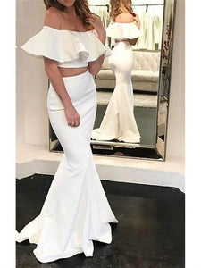 Elegant Two Pieces Mermaid Long Prom Dresses,White Simple Dresses