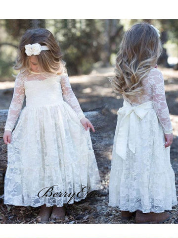 Long Sleeves Beautiful Flower Girl Dresses, Lace Flower Girl Dresses