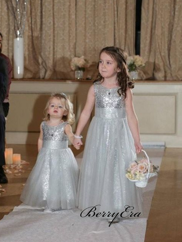 Tulle A-line Flower Girl Dresses, Sequins Wedding Girl Dresses