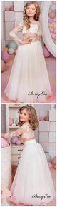 Two Pieces Long Sleeves Tulle A-line Lace Flower Girl Dresses