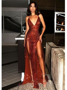 Sexy Sequin Slit Long Prom Dress, V-neck Evening Party Dress, Prom Dresses 2019