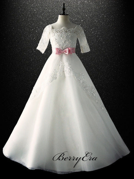 Elegant A-line Tulle Flower Girl Dresses, Popular Lace Flower Girl Dresses