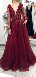 V-neck Long Sleeves Beaded Maroon Prom Evening Dresses