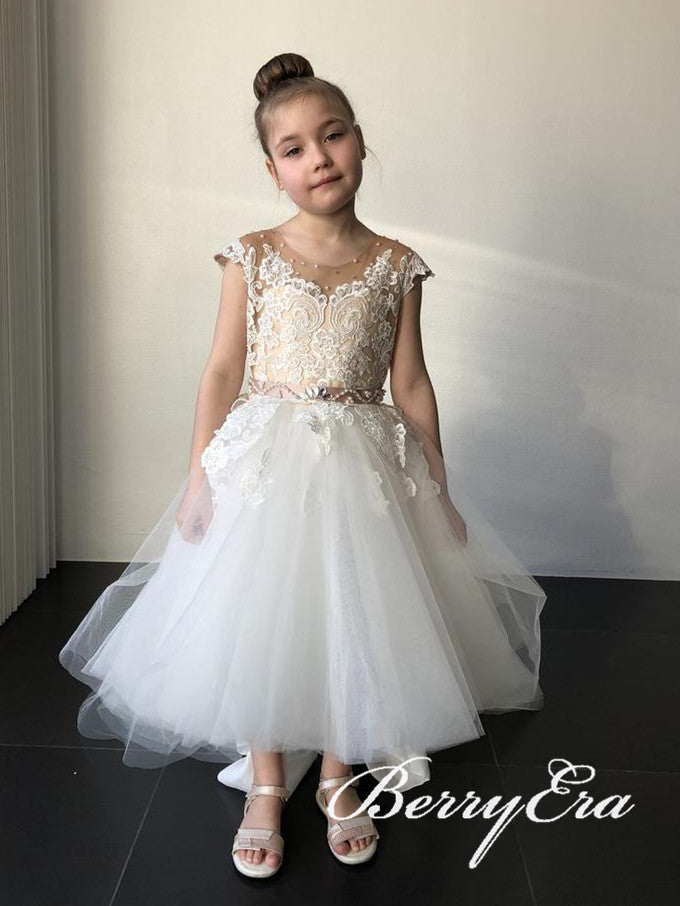 Lovely Lace Tulle Flower Girl Dresses, Beaded Flower Girl Dresses