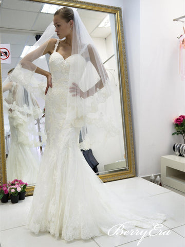 Straps Lace Mermaid Long Wedding Dresses With Veil