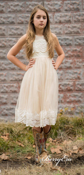 Lovely Champagne Lace Tulle Flower Girl Dresses