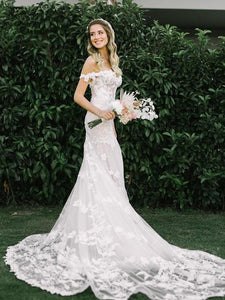 Off Shoulder Elegant Lace Popular Wedding Dresses, Quality Outdoor Lace Wedding Dresses
