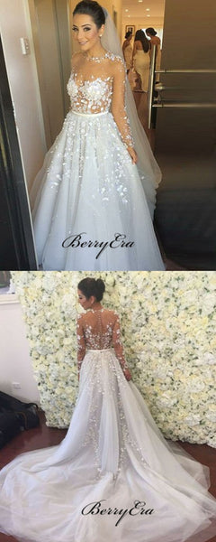 Long Sleeves Lace Wedding Dresses, Applique A-line Wedding Dresses