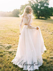 Two Pieces Lace Wedding Dresses, Long Sleeves Lace Wedding Dresses