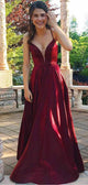 Straps Long A-line Dark Red Taffeta Prom Dresses