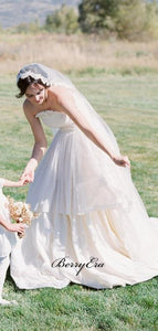 Newest Strapless Wedding Dresses, A-line Elegant Wedding Dresses, Bridal Gowns