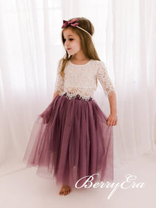 2 Pieces Lace Top Tulle Flower Girl Dresses, Lovely Flower Girl Dresses