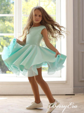 Mint Cute Satin Flower Girl Dresses, Little Girl Dresses