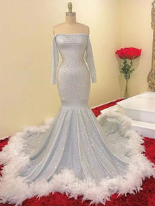 Long Sleeves High Fashion New Prom Dresses, 2020 Mermaid Long Prom Dresses