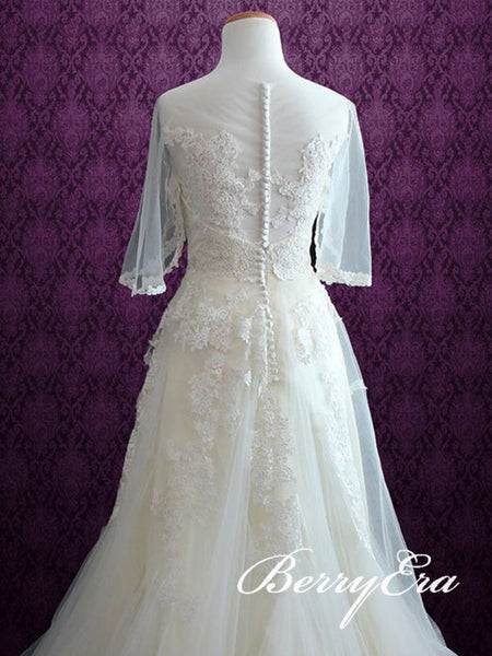 Romantic Lace Tulle Wedding Dresses, Counrty Wedding Dresses