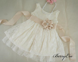 Lovely Lace Flower Girl Dresses With Satin Belt