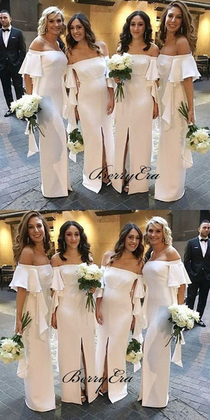 Off The Shoulder Ivory Bridesmaid Dresses, Slit Bridesmaid Dresses