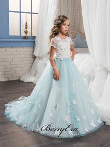 Light Blue Appliques A-line Flower Girl Dresses, Lace Tulle Flower Girl Dresses