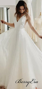 Simple A-line Wedding Dresses, V-neck Wedding Dresses, Cheap Wedding Dresses
